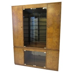 Burl Wood Wall Unit / 2pc. Cabinet or Bookcase by Bernhardt