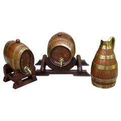 Antique Wine Barrels Casks Pitcher Jug Brass Banded 3-Piece Set Maker's Hallmark