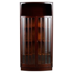 Mahogany and Beveled Glass Bowfront Vitrine Display Cabinet, circa 1930's