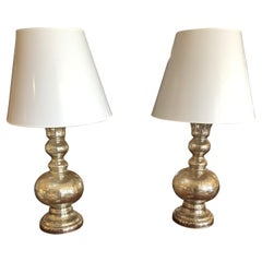 Glamorous Pair of Silver Glass Table Lamps