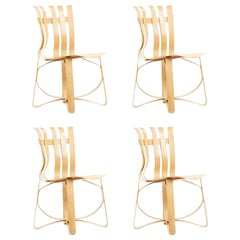 Set of 4 Frank Gehry for Knoll Hat Trick Dining Chairs