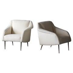Carlo De Carli, Rare Lounge Chairs, Brass, Bouclé, Singer & Sons, America, 1950s
