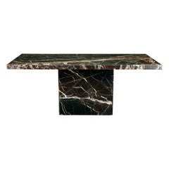 Exotic Grain Post-Modern Marble Dining Table, circa 1980s