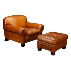 Henredon Heavy Leather Club Chair and Ottoman, Signed
