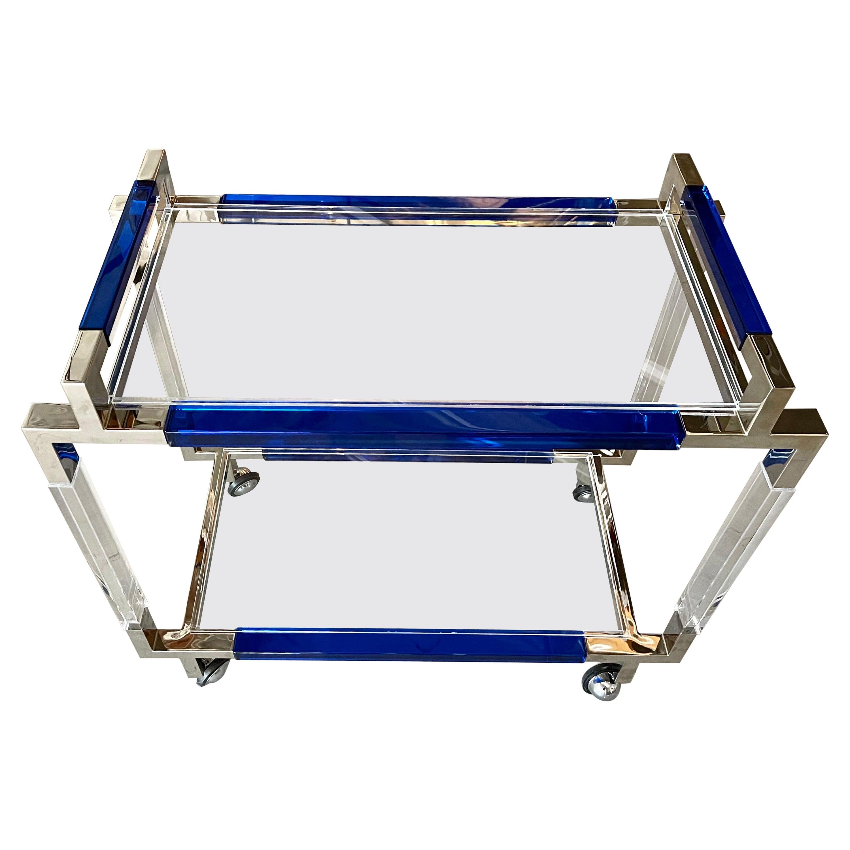 Charles Hollis Jones Cobalt Blue Lucite Bar Cart