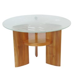 Art Deco Coffee Table with Saint Gobain Glass-Top with Aviation Decor