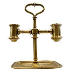 Double Solid Brass Candlestand with Undertray and Carry Handle