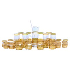 Mid-Century Modern Gold Plated Barware Set of Glasses & Mixer by Culver c. 1965
