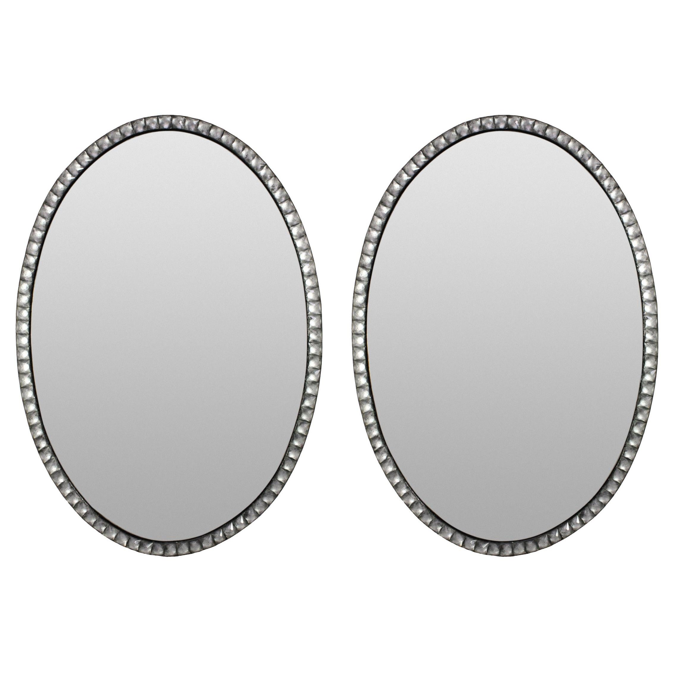 Pair of Georgian Style Irish Mirrors with Rock Crystal Faceted Borders