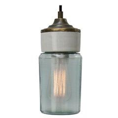 White Porcelain Green Striped Glass Vintage Industrial Brass Pendant Lights