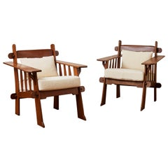 Vintage Wooden Armchairs, 1980s