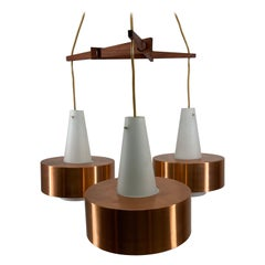 Scandinavian Modern Vintage Copper Metal Chandelier by Jo Hammerborg, 1960s