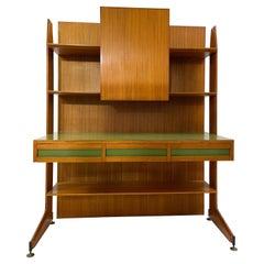 Mid-Century Modern Italian Teak Desk, Brown and Green, 1950s