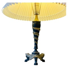 Antique Italian Brass Table Lamp with Twisted Snake