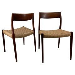 Mid-Century Modern Niels Otto Møller Model 77 Dining Chairs, Denmark 1960s