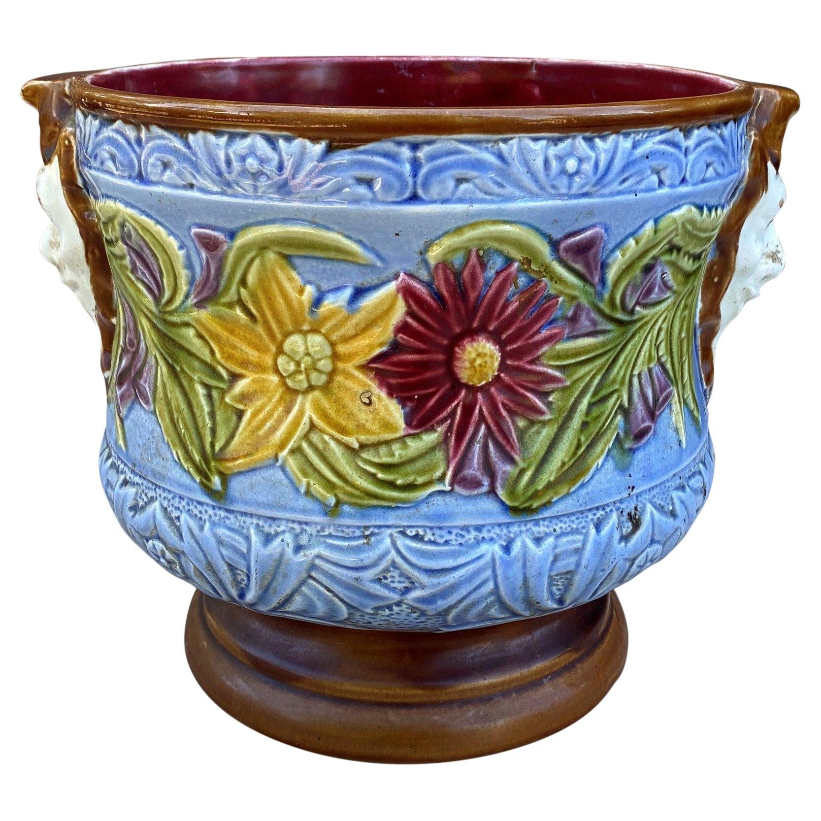 Antique English Majolica Planter Cache Pot Jardiniere Vase Blue Floral Masks