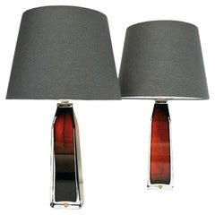 Red Glass Table Lamp Pair by Carl Fagerlund for Orrefors, Sweden 1960s