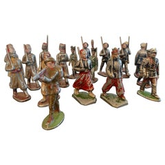 Collection of 17 Small Lead Soldiers from French and English Regiments