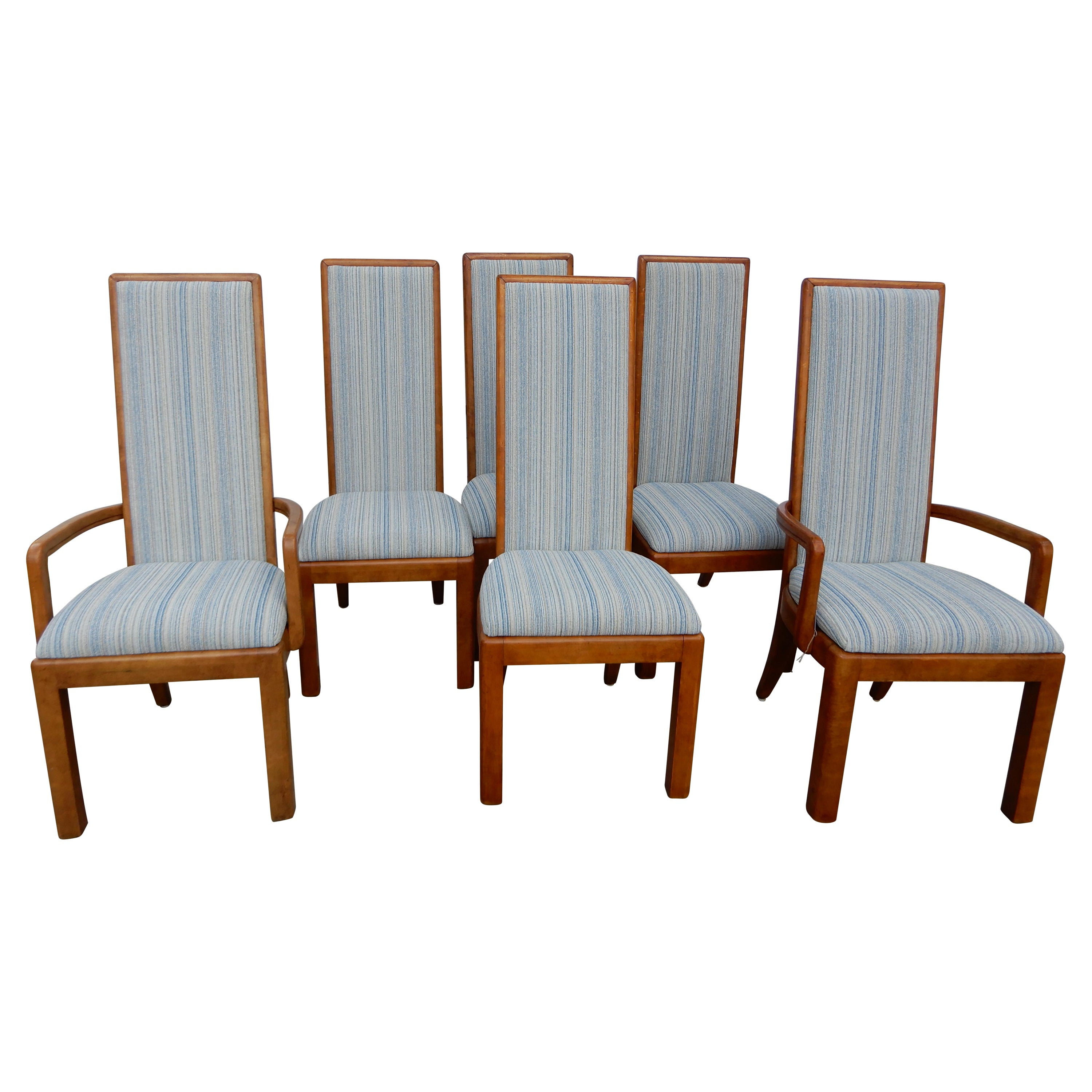 Six High Back Dining Room Chairs in the School of Frank Lloyd Wright