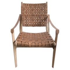 Modern Woven Leather Strap Teak Wood Chair