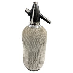 Vintage Classic Soda Siphon Seltzer Glass Bottle with Wire Mesh