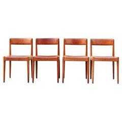 Aage Schmidt Christensen Fitz Hansen Danish Teak Cognac Dining Chair Set of 4
