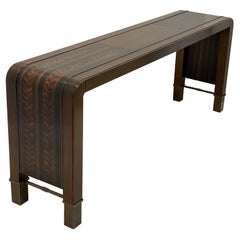 Bill Sofield for Baker Furniture Modern Waterfall Style Inlaid Console Table