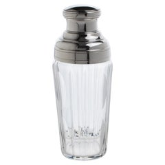 French Silver Plate and Crystal Cocktail Martini Shaker Barware Accessory