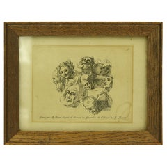 Bernard Picart French Framed Engraving of a Group of Heads