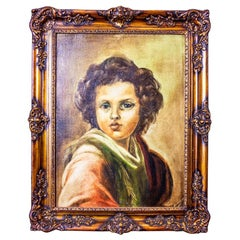20th-Century Portrait of Small Boy in Rococo Revival Frame