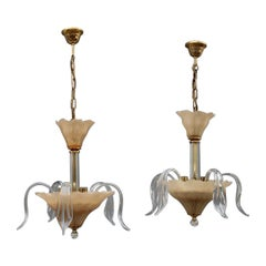 Round Pair Murano Small Chandelier Old Gold Metal Flowers Leaves 1970 Italy