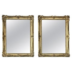 Antique Pair of Large Gilt Wall Overmantle Mirrors, 19th Century