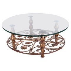 Vintage Hollywood Regency Coffee Table with Beautiful Floral Design, 1970s