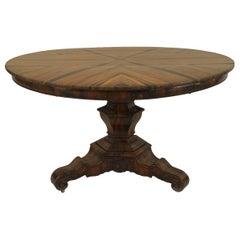 English William IV Zebra Wood Center Tilt Top Table