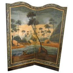 18th Century French Screen Oil on Canvas, Two Leaf, Landscape