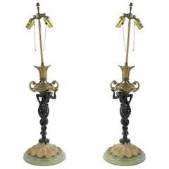 Pair of French Victorian Bronze and Onxy Table Lamps