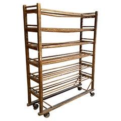 Industrial Wood Shelving Rolling Rack