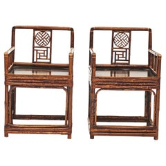 Pair of 19th Century Chinese Bamboo Arm Chairs in Original Condition