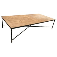 1990s French Iron Coffee Table w/ Oak Parquet Top