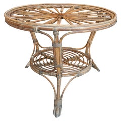 1970s Spanish Bamboo Round Side Table