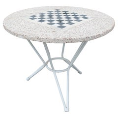 1970s Spanish Round Iron Garden Table w/ Chess Board Cast Stone Top