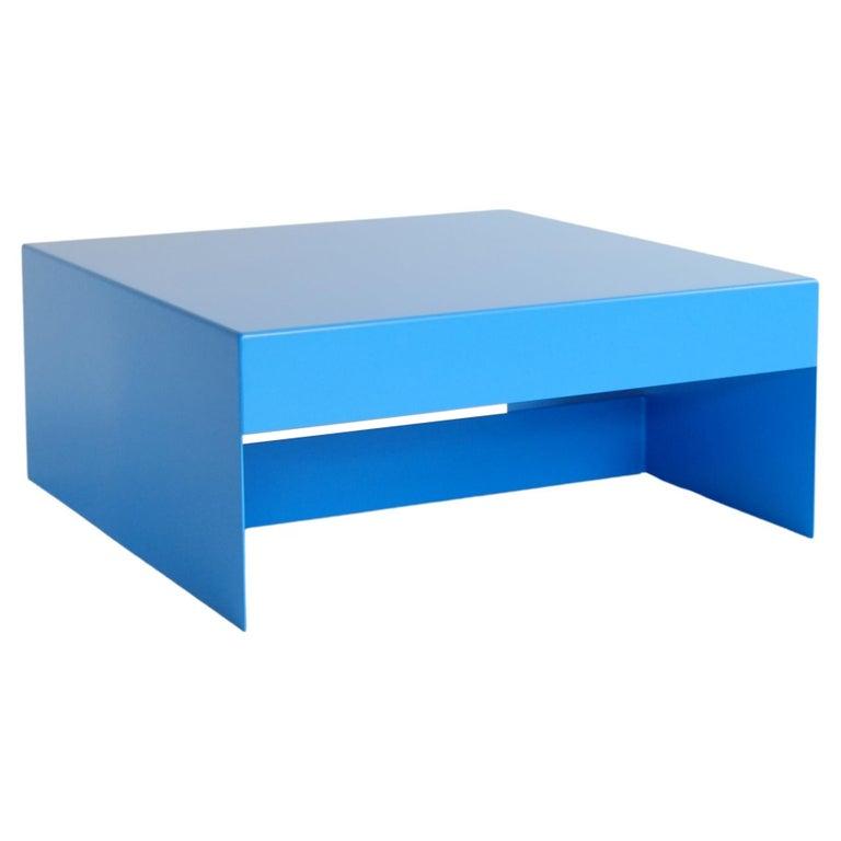 Matt Blue, Single Form Square Aluminium Coffee Table, Customisable For Sale