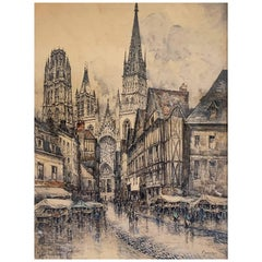 """WILL Frank """"Rouen"""", View of Notre-Dame, Watercolor"""