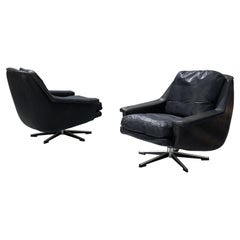 Swivel Wilkhahn Lounge Chairs in Black Leather and Metal