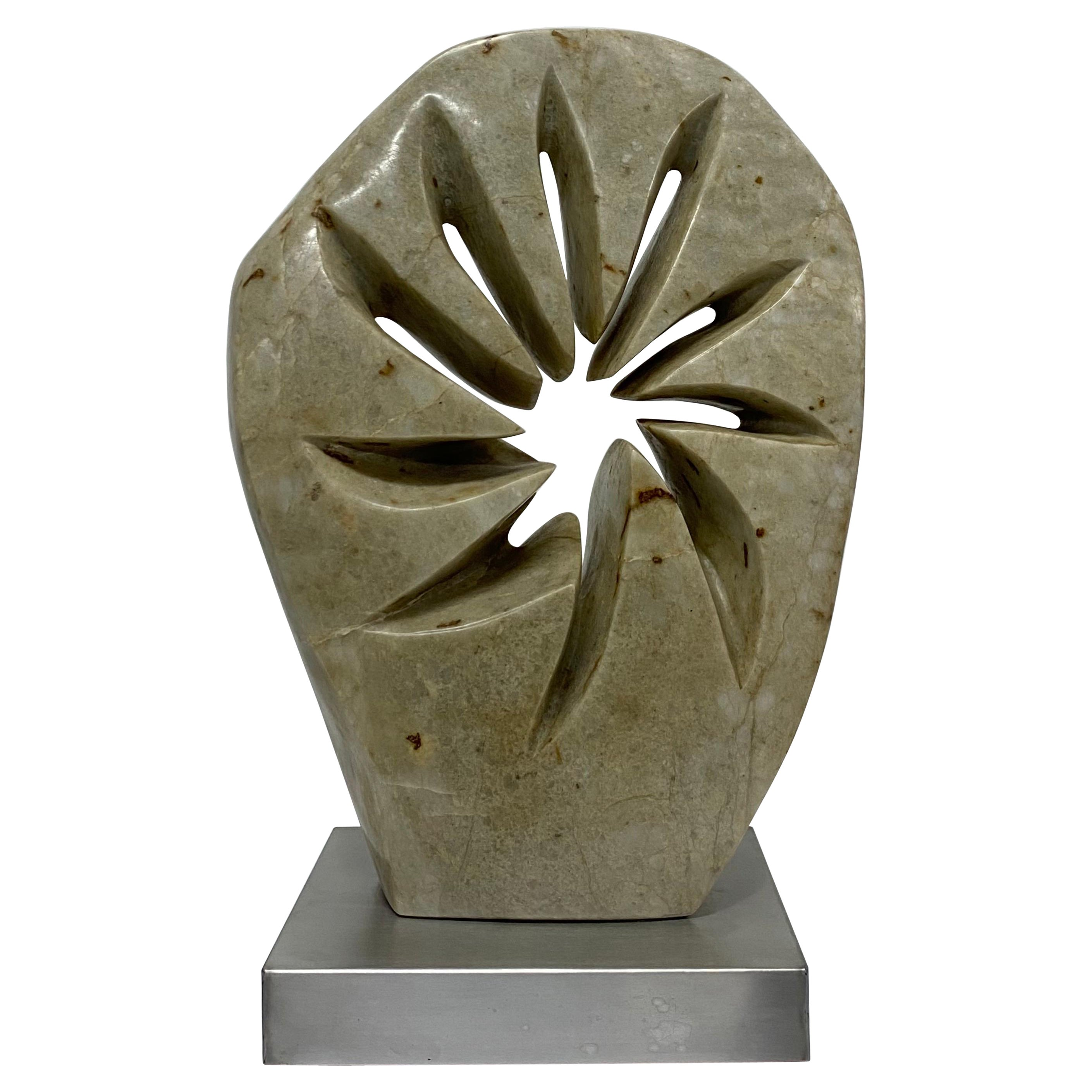 Contemporary Abstract Marble Sculpture on Brushed Steel Base