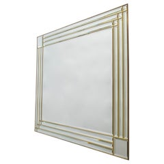 Large Rectangular Beveled Mirror with a Brass  Frame, Italy, 1970s