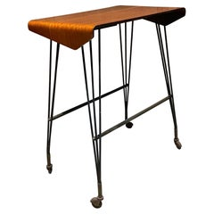 1940s Italian Carrello TV Side Table on Wheels Patinated Elegance from Italy