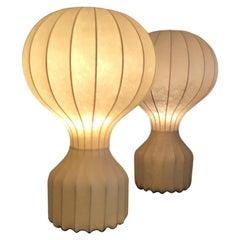 """Achille e PierGiacomo Castiglioni """"Gatto"""" Couple Table Lamps Cocoon 1960 Italy"""