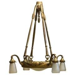 Maurice Dufrene Gilt Bronze and Daum Glass Ceiling Fixture