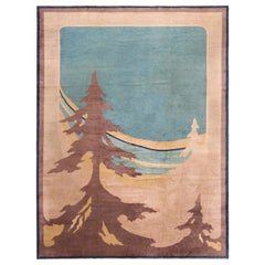 Antique Art Deco Chinese Room Size Rug. Size: 9 ft 3 in x 12 ft 7 in